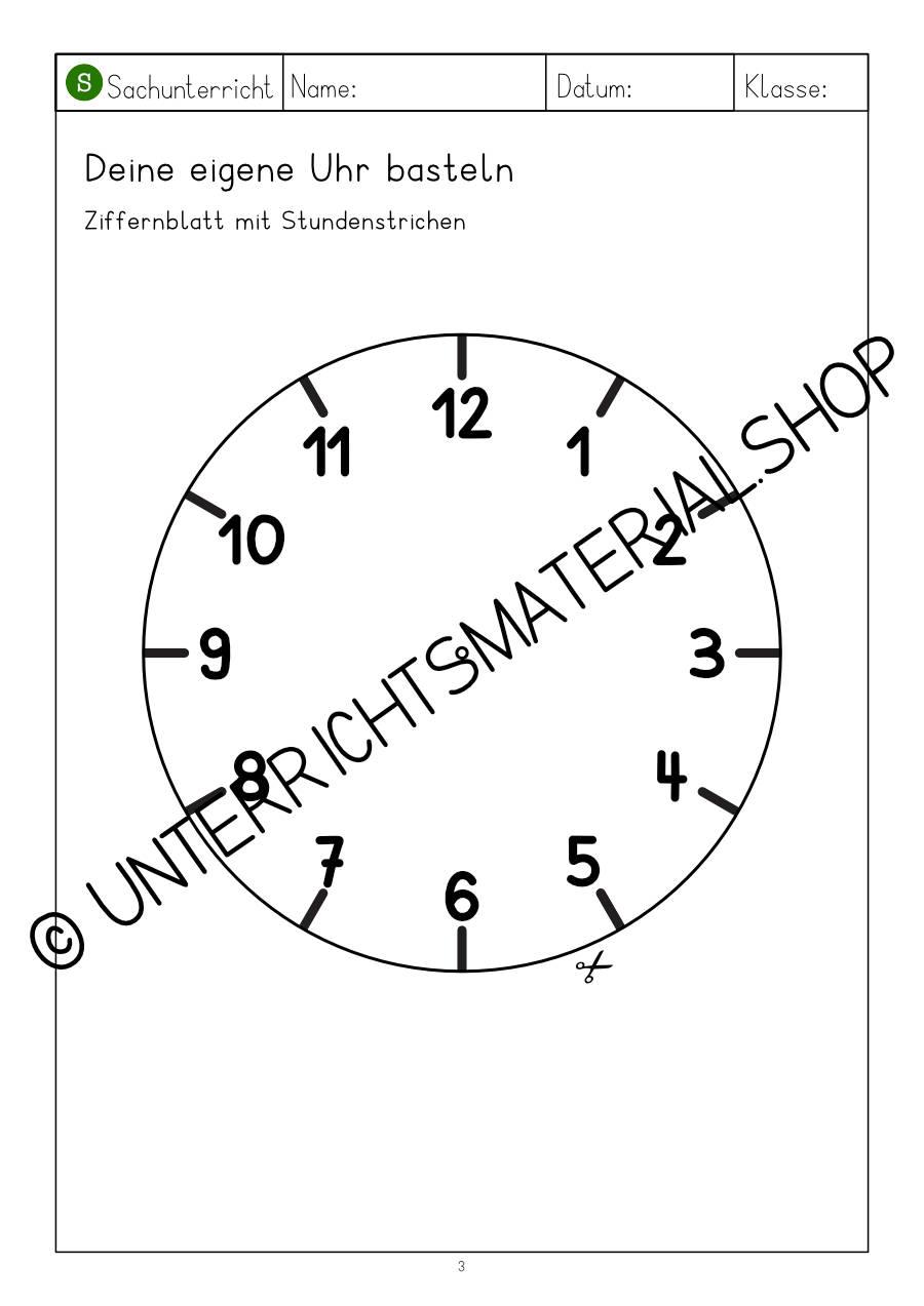 Uhr Grundschule Klasse 1