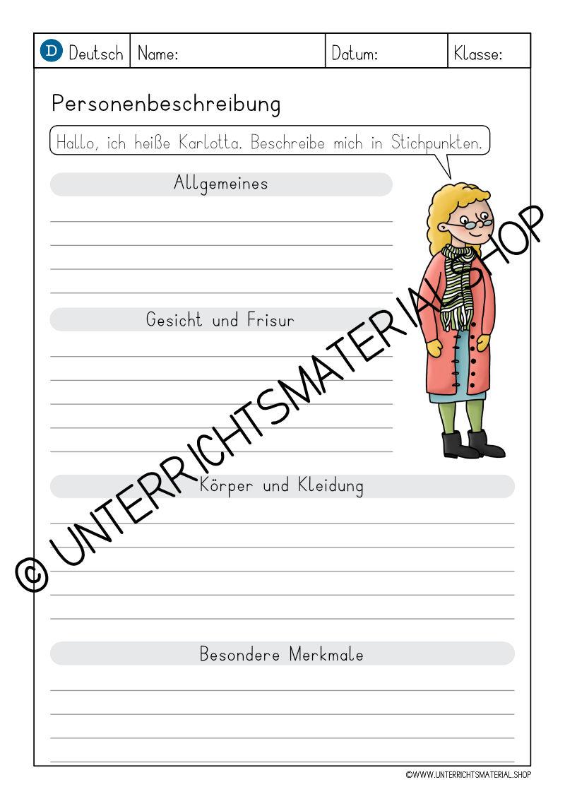 Grundschule Personenbeschreibung Muster