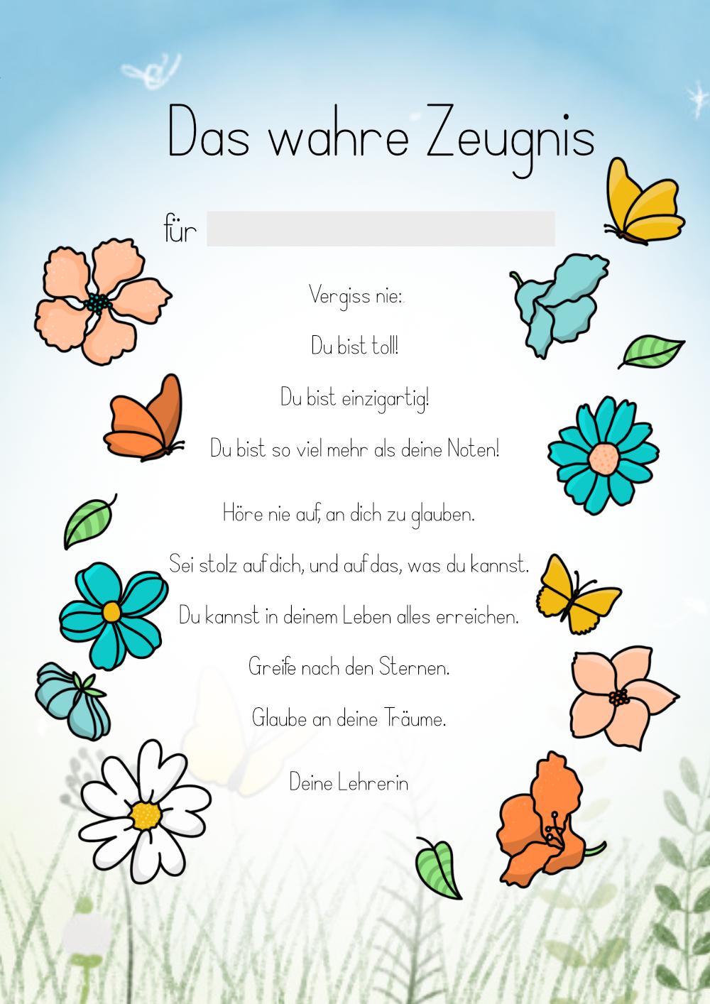 Das wahre Zeugnis - Du bist so viel mehr als deine Noten! - Blumen-Edition