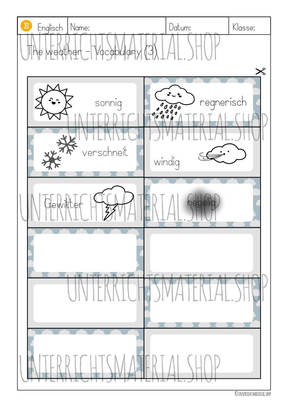 Vokabel-Lern-Karten Weather