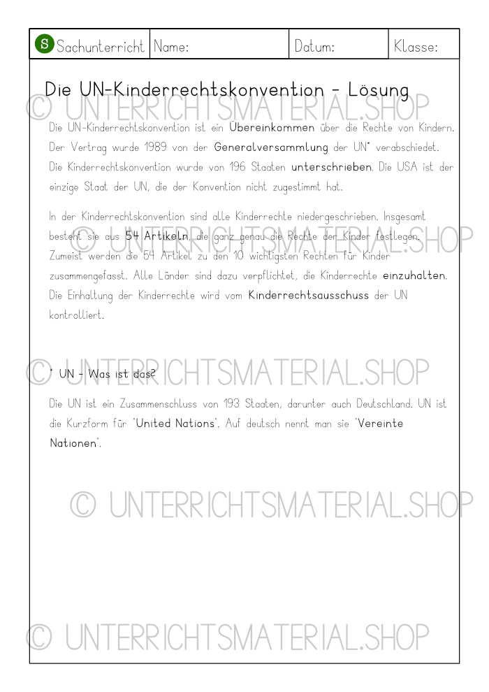 Grundschule Arbeitsblätter Kinderrechte