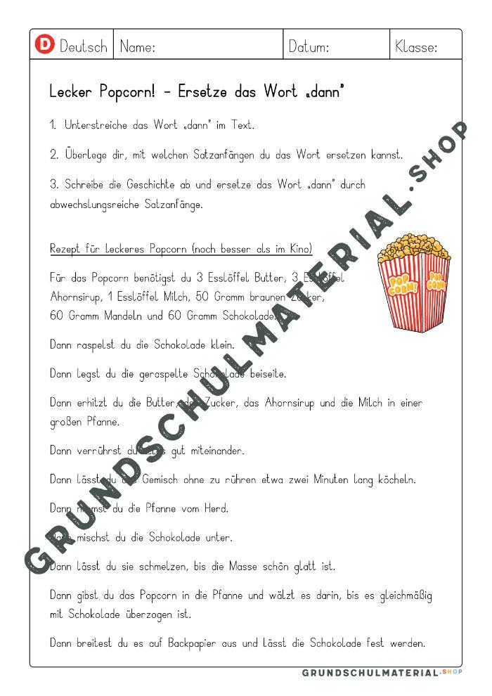 Satzanfänge Grundschule Rezept
