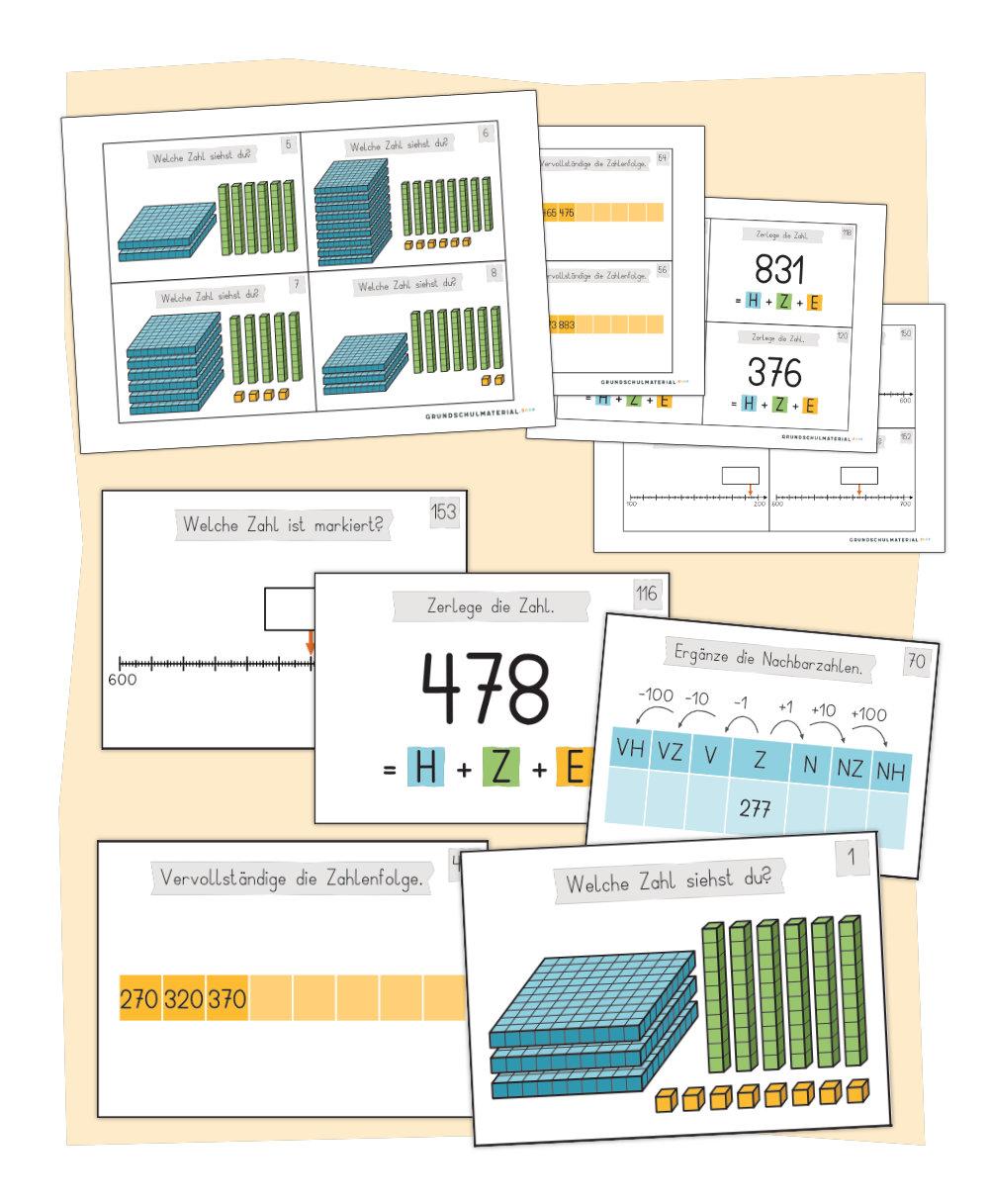 """Aufgabenkarten """"Einführung in den Zahlenraum 1000"""""""