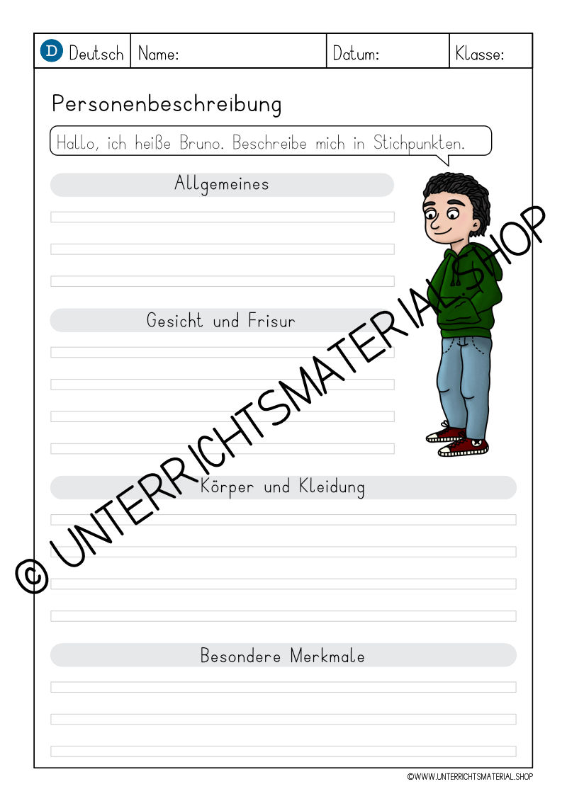 Personenbeschreibung Grundschule 3. Klasse Muster
