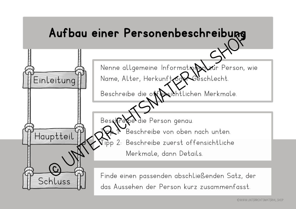 Personenbeschreibung Grundschule Merkmale