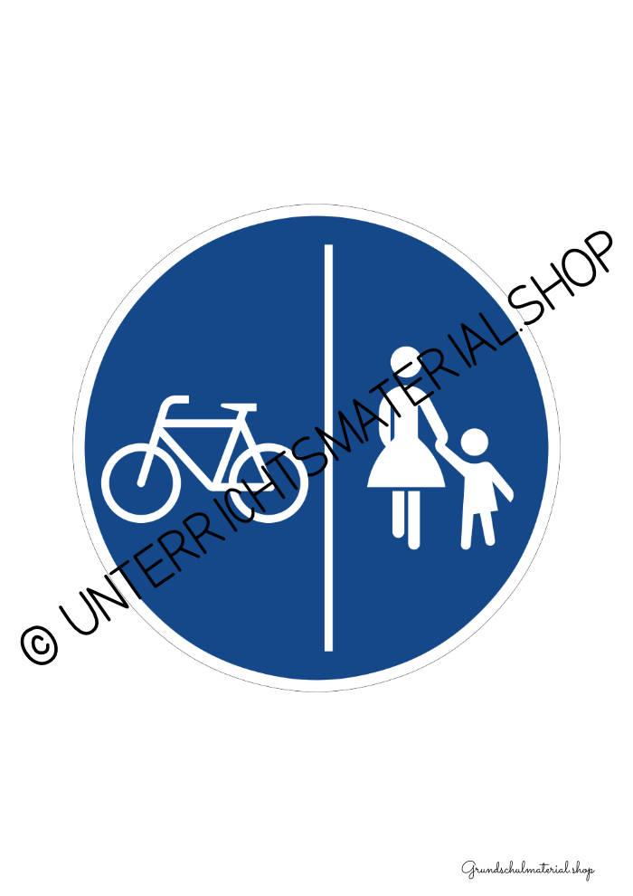 Verkehrszeichen zum Ausdrucken: Getrennter Fuß- und Radweg