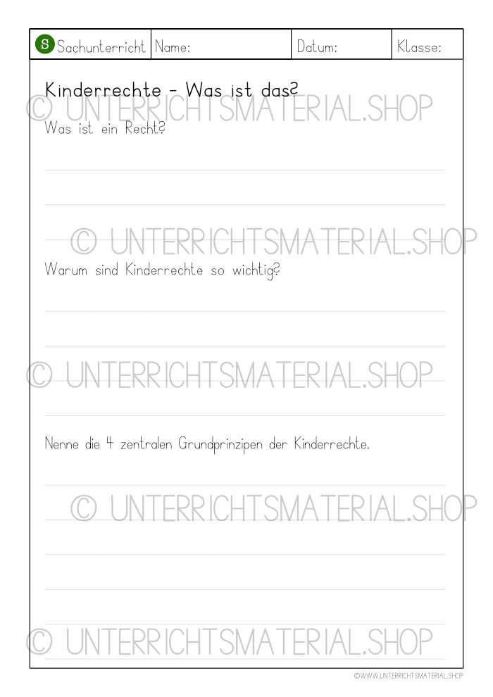 Kinderrechte Unterrichtsmaterial PDF