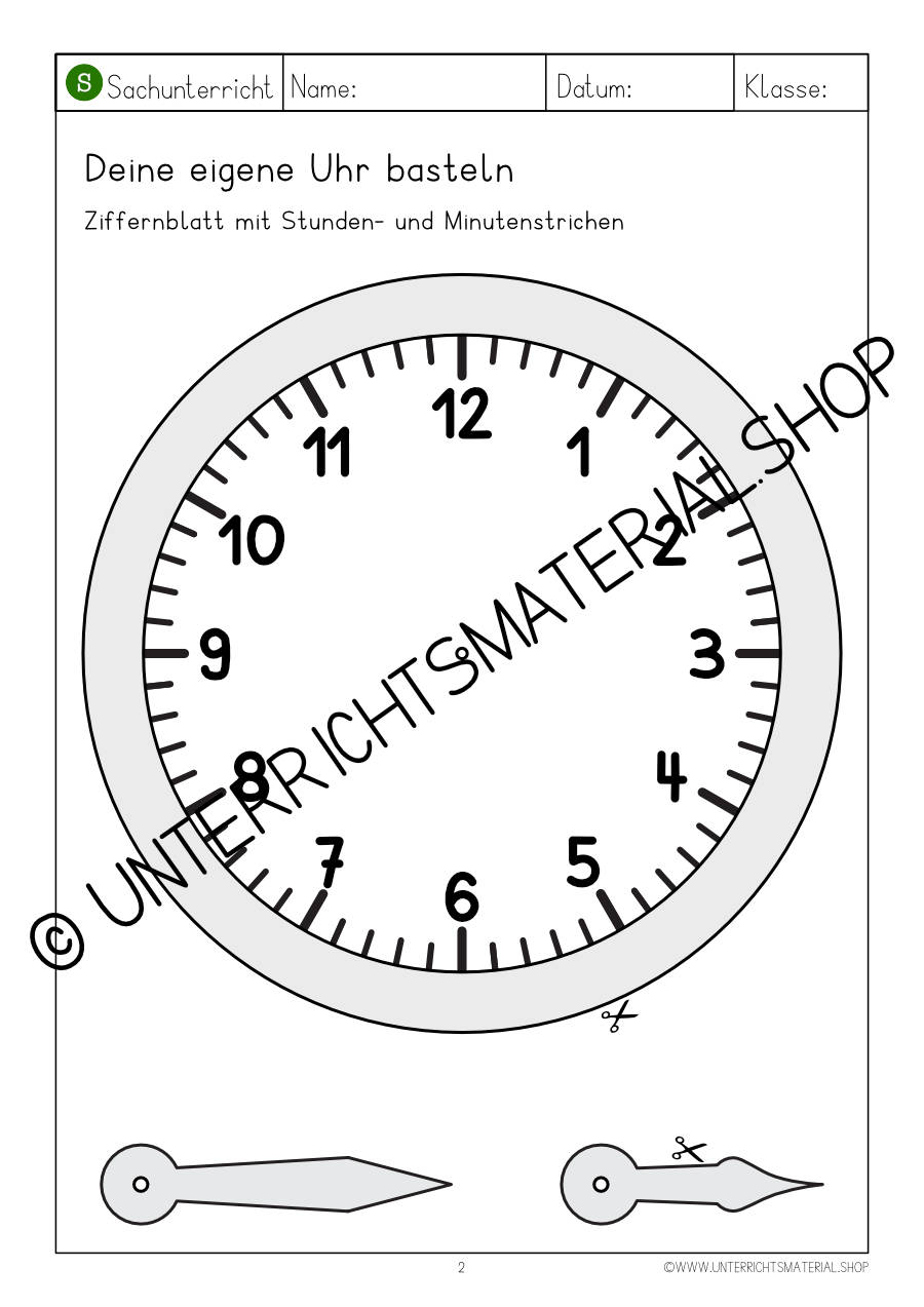 Uhr zum Lernen ausdrucken