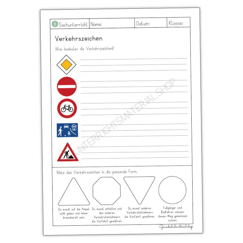 Verkehrszeichen Arbeitsblatt