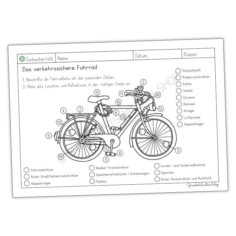 Das verkehrssichere Fahrrad Arbeitsblatt