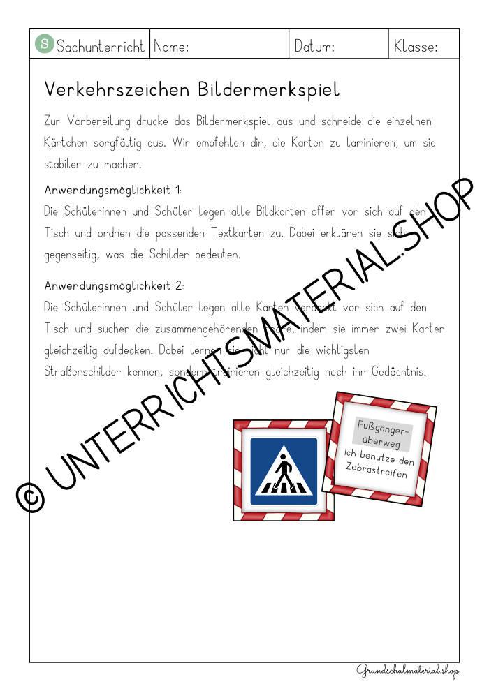 Verkehrszeichen Spiel PDF