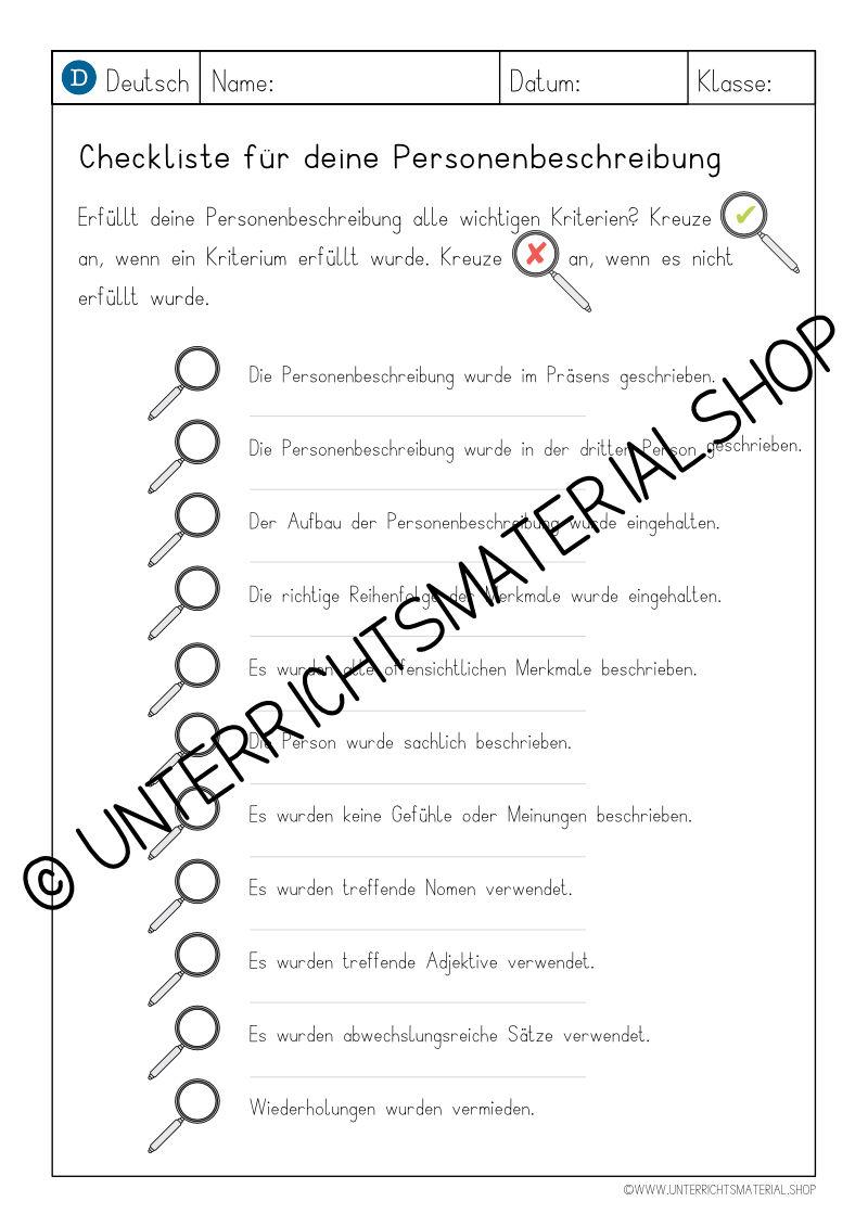 Personenbeschreibung Checkliste