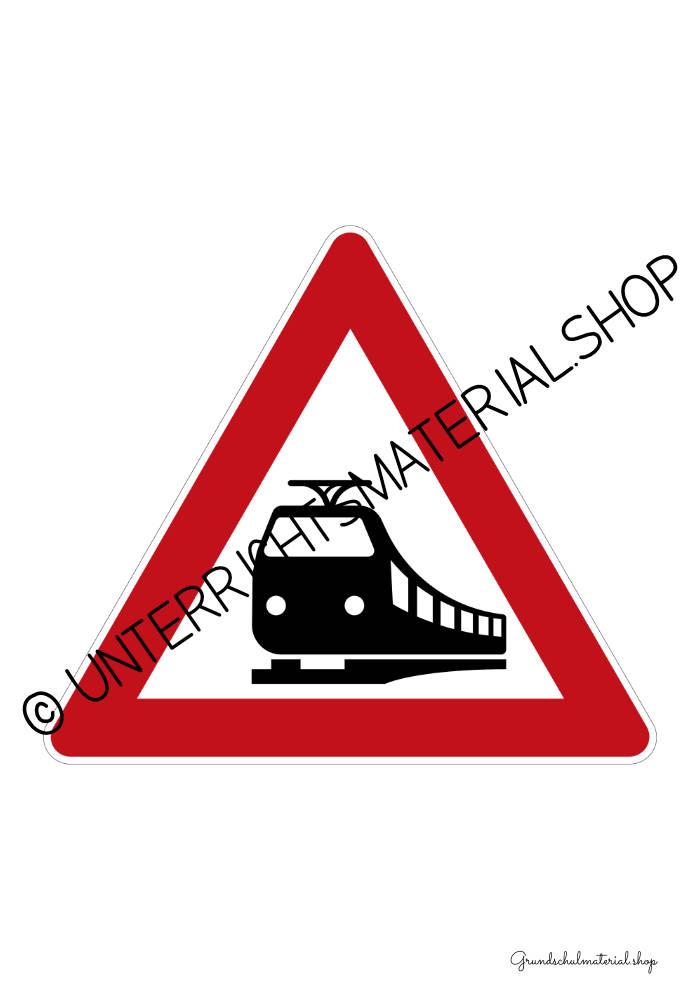 Verkehrszeichen zum Ausdrucken: Bahnübergang