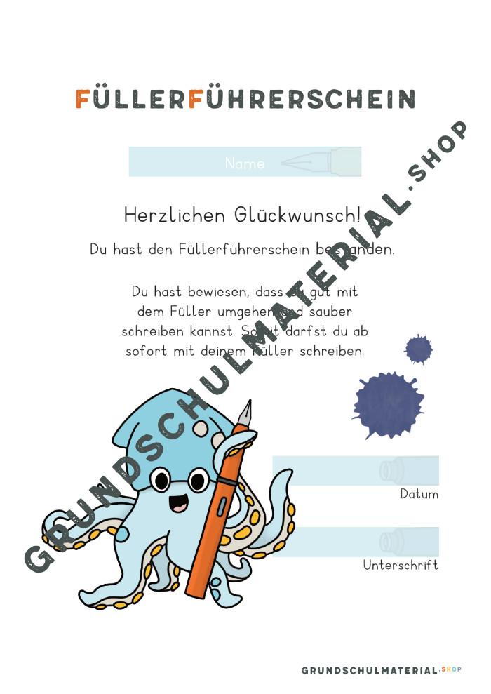 Füllerführerschein Urkunde