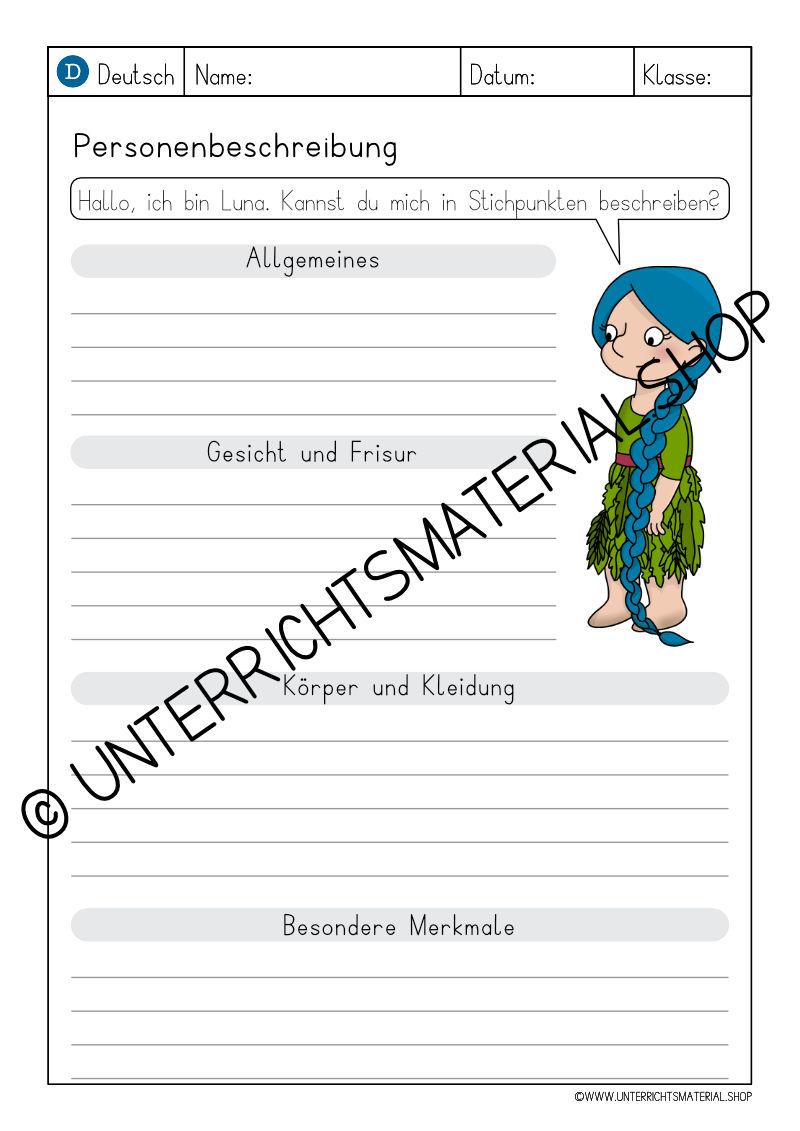 Personenbeschreibung Grundschule 4. Klasse Muster
