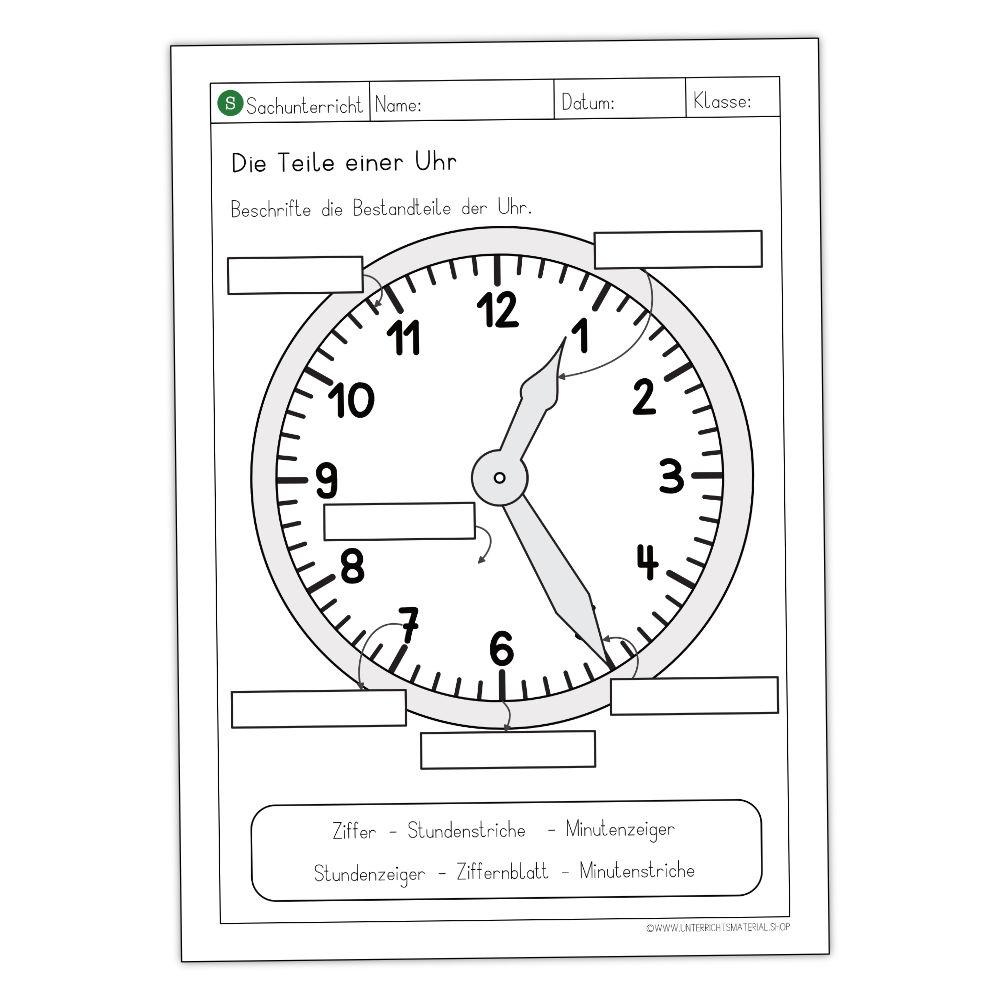 Teile der Uhr Grundschule