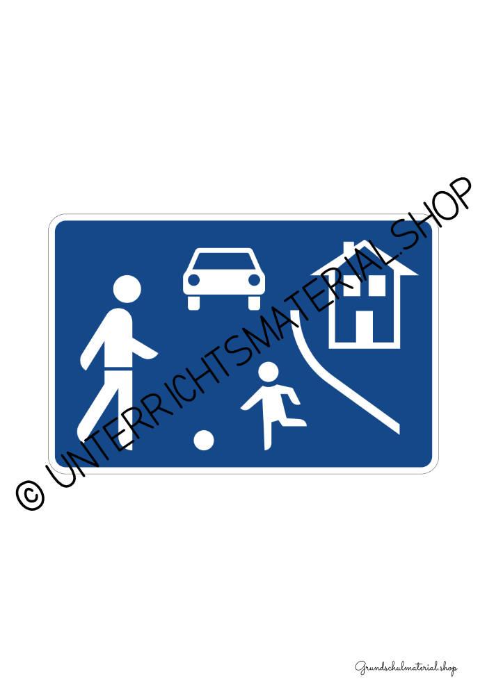 Verkehrszeichen zum Ausdrucken: Verkehrsberuhigter Bereich