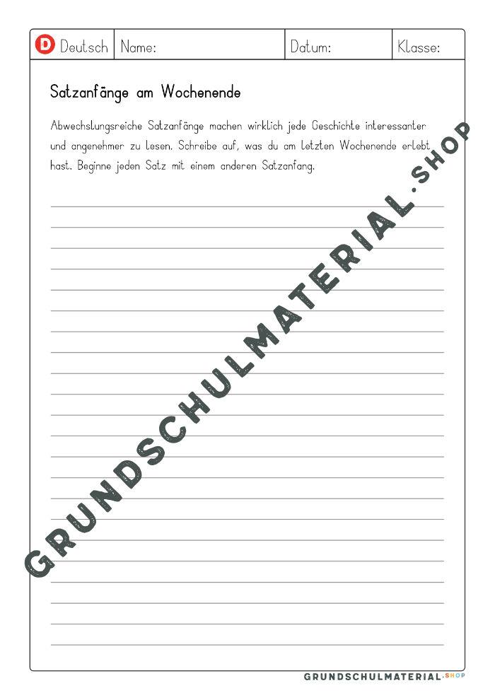 Satzanfänge Kreatives Schreiben Grundschule