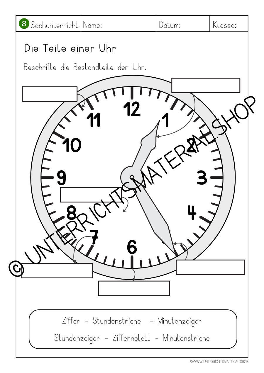 Teile der Uhr Arbeitsblatt