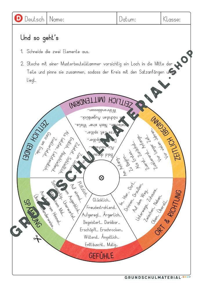 Satzanfänge Deutsch Grundschule
