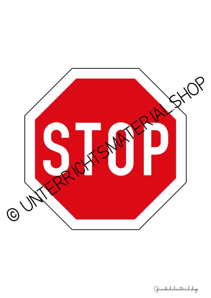 Verkehrsschilder zum Aufhängen ausdrucken: Stop-Schild