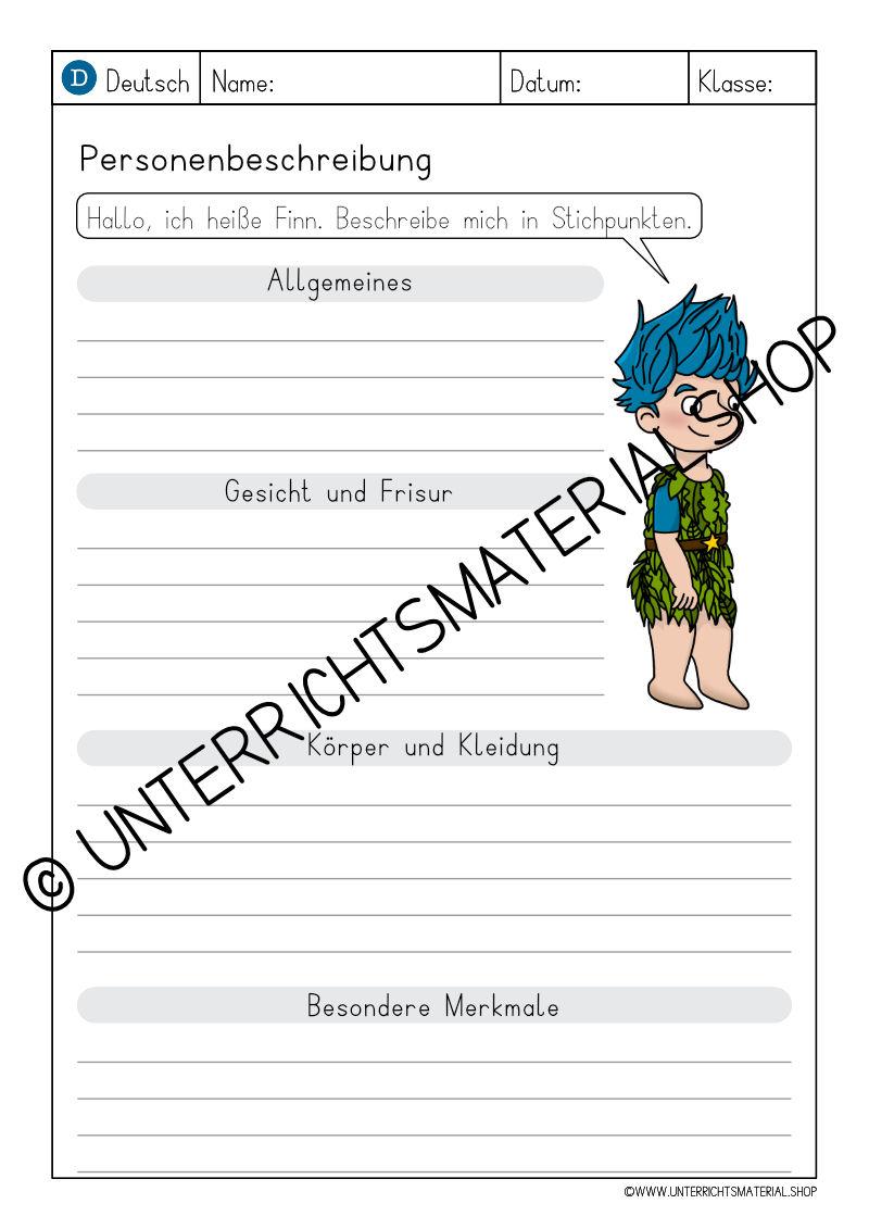 Grundschule Personenbeschreibung PDF