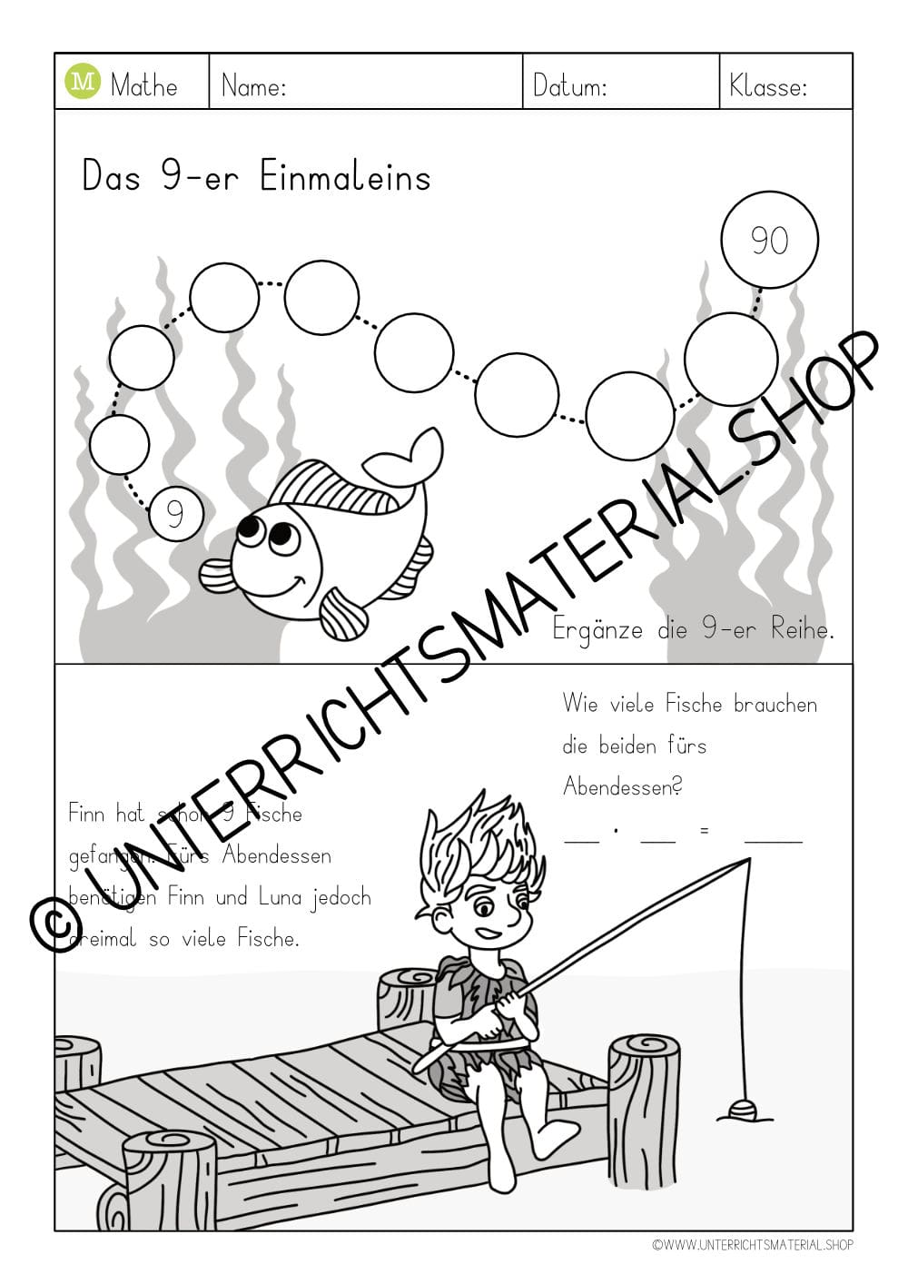 Arbeitsblatt 9-er Einmaleins