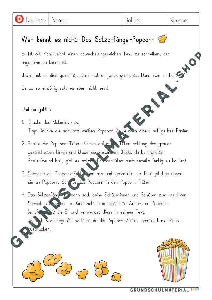 Unterrichtsentwurf Satzanfänge Grundschule
