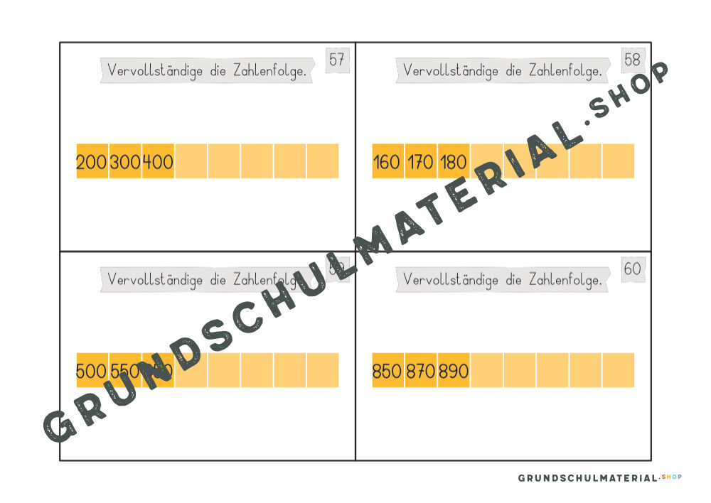 """Materialpaket """"Einführung in den Zahlenraum 1000"""""""