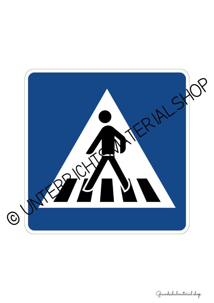 Verkehrszeichen zum Ausdrucken: Fußgängerüberweg