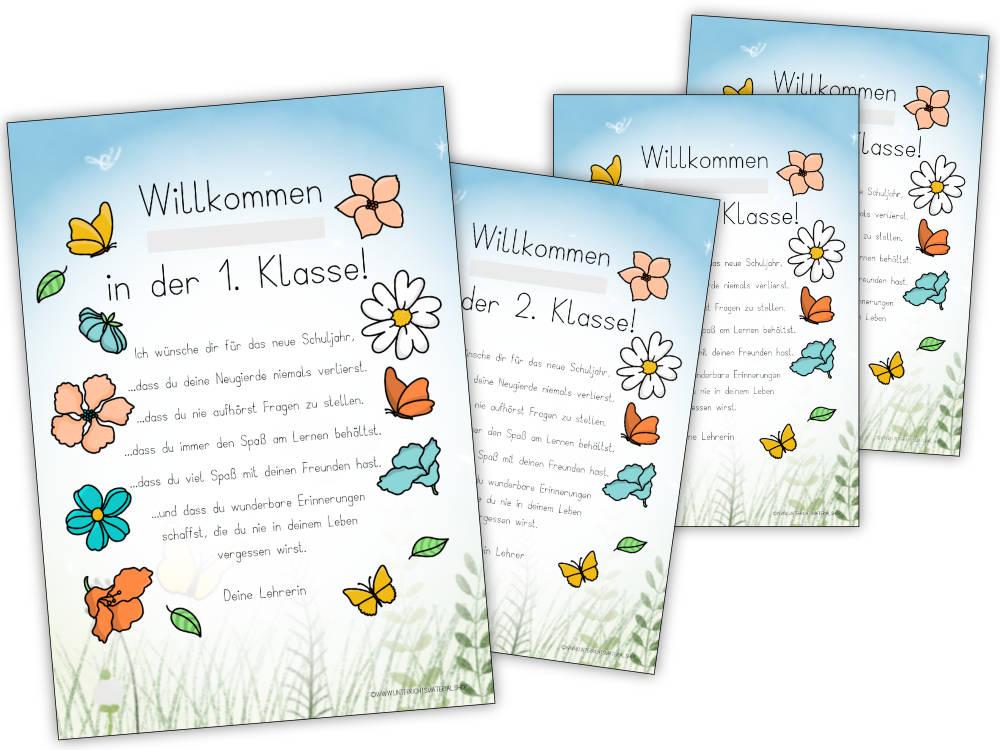 Wünsche zum Schulanfang - Willkommen in der 1. / 2. / 3. / 4. Klasse