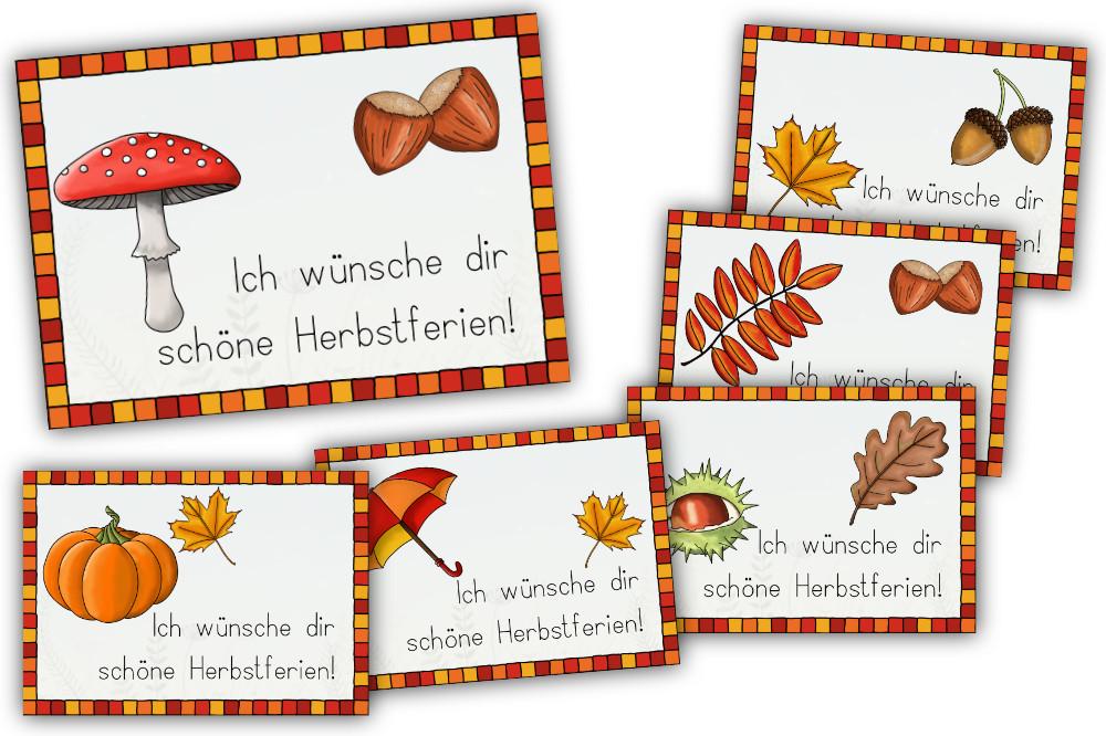 """Kärtchen """"Ich wünsche dir schöne Herbstferien"""""""