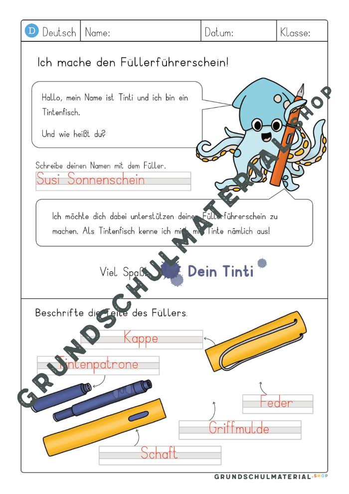 Füller Teile beschriften