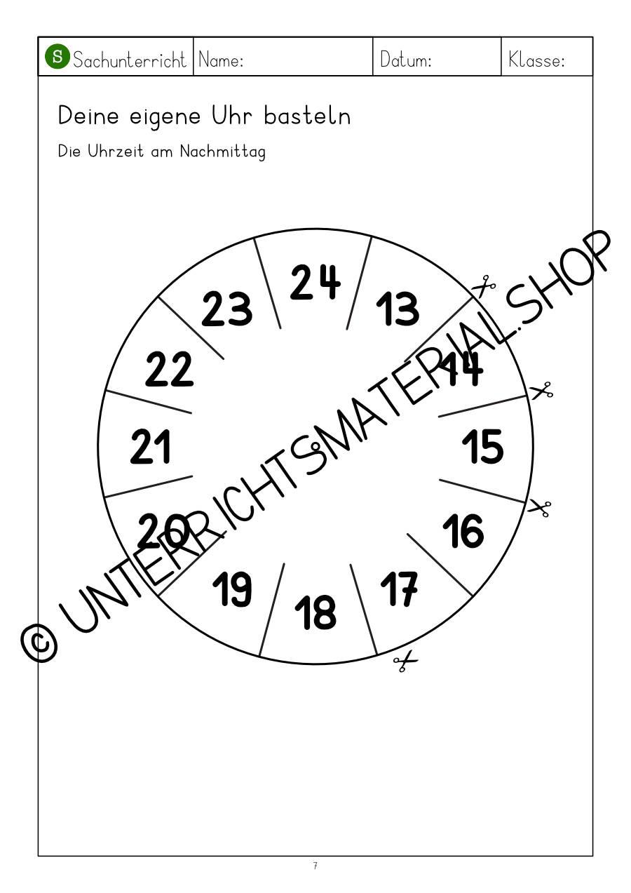 Uhr Grundschule 3. Klasse